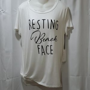 NWT Coverstiched Short sleeve tee Beach Face
